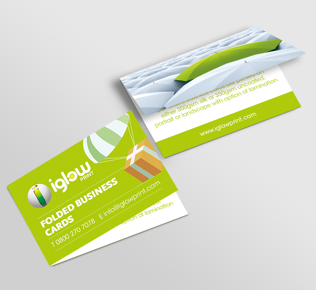 Folded business cards iglow print iglow print refer a friend reheart Gallery